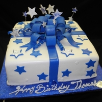 Blue And White Stars Fondant Birthday Cake Blue and white Stars Fondant Birthday Cake