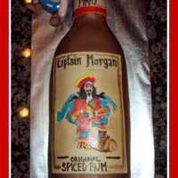 Captain Morgan's Bottle Cake Images are Hand Drawn with food colours
