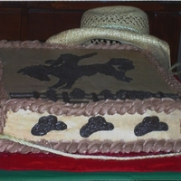 Cowboy Birthday Cake Chocolate butter cream with vanilla and chocolate cake