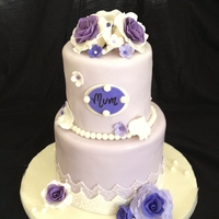 Vintage Purple Rose Cake Purple rose cake with sugar roses and fondant lace. (inspiration: TLB Cakes) :)