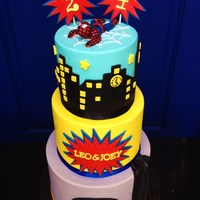 Superhero Double Birthday Cake With Fondant Spiderman Superhero Double Birthday Cake with fondant Spiderman!
