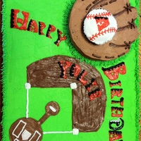 "Arizona Diamondbacks Birthday Cake A great cake for a D-Backs fan! The glove is a single layer 6"" round cake, with a little carving to define the fingers."
