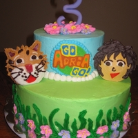 Go Diego Go Birthday Cake Go Diego Go birthday cake. Logo is done in frozen buttercream transfer (my first attempt at the technique. LOVE IT!)