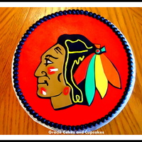 Chicago Blackhawks Cake Logo made of fondant