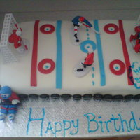 Hockey Game Cake i made this cake for my nephews 8th birthday party. It is cocoa chocolat cake with whip cream filling,vanilla buttercream and mmf. It was...