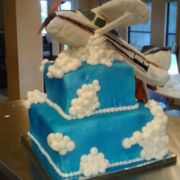 Cessna Taking Off  Made this cake for a friends' wedding. The plane is made from a balsa wood base, then formed in rice cereal treats and covered in...