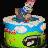 Wii Mario Kart Birthday Cake   All decorations made of piped/poured white chocolate. Icing is Sharon Zambito's crusting butter cream. No fondant used.