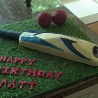 Cricket Bat Cake Simple cricket bat and balls cake.