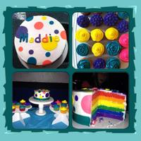 Rainbow Cake And Cupcakes Cake is buttercream icing. Fondant dots and letters.Cupcakes are buttercream used with different tips.