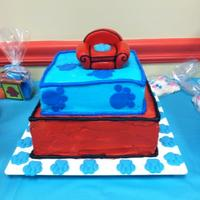 Blues Clues Buttercream icing Thinking Chair and paws on cake are made of fondant. Paws around the cake are chocolate.