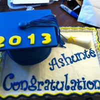 Graduation Cake Letters, numbers, and hat are fondant. Hat is a 5 inch cake. The top is cardboard covered in fondant. Diploma is made of chocolate....