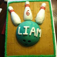 Bowling Cake Bowling pins made like cake balls. Formed like a pin and covered in fondant. Ball is fondant. Everything else is buttercream. To get the...