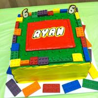 Lego Cake Lego Cake Legos, name, and numbers are made of chocolate. Everything else is buttercream.