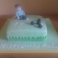 Crown Green Bowling Cake A victoria sponge with jam and vanilla buttercream, covered in fondant with fondant models
