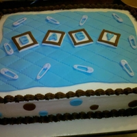 Boy Baby Shower Cake 1/2 sheet vanilla cake with vanilla bavarian cream filling. Fondant quilt and dots. Fondant letter squares.