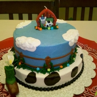 Ranch Themed Cake 2 Tier buttercream cake. Fondant dots and fence. Buttercream clouds.