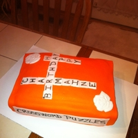 Crossword Puzzle Book Cake   marble cake covered in vanilla icing and fondant