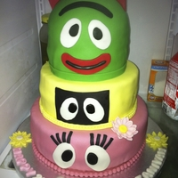 Yo Gabba Gabba   white cake with strawberry filling and vanilla buttercream icing covered in fondant