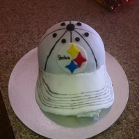 Ladies Pittsburgh Steelers Cap   red velvet and chocolate cake with chocolate butter cream covered in MMF
