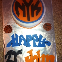 My Son's 21St Birthday Cake Ny Knicks   red velvet cake with cream cheese butter cream icing covered in fondant. All decorations made from fondant