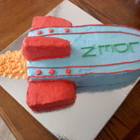 Rocket Ship   All buttercream for a five year old who picked his colors :-)