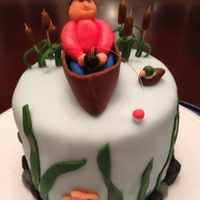 Fishing Cake   Fondant fisherman, and water details