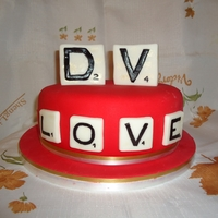 Scrabble Valentine's Day Cake  This cake was inspired by Scrabble wedding cake from Pink Cake Box It's an early Valentine's day cake for my husband and I (hence...