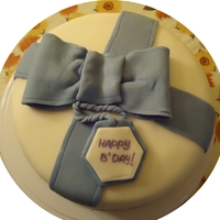 Birthday Cake For The Office Inside - lemon cake with vanilla buttercream. Outside - covered and decorated with fondant.