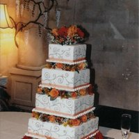 Fall Flowers Square Tiered Wedding Cake   Buttercream frosted & piped with fresh flowers