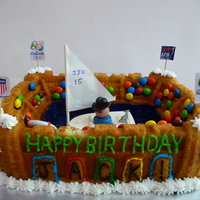 Sailing At Olympics A Stadium Cake Pan with water filled tray in center with floating sailboat. M&Ms and Skittles used for spectators. Made this for a...
