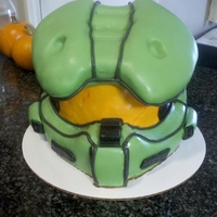 Halo Chiefs Helmet Birthay cake, chocolate cake with vanilla buttercream.