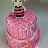 Hello Kitty Ruffle Cake Top Tier White Cake With Strawberry Buttercream Bottom Tier Chocolate Cake With Chocolate Buttercream   Hello Kitty ruffle cake. Top tier- white cake with strawberry buttercream.Bottom tier- chocolate cake with chocolate buttercream.