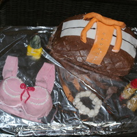 Purse Cake Was A Chocolate Cake And Bra Cake Was Coffee Cake The Accessories Were Made With Fondant Purse cake was a chocolate cake and bra cake was coffee cake. The accessories were made with fondant.