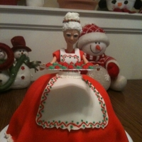 Mrs Claus This is my first attempt at a doll cake (and first attempt at piping small details) and I did not have any special pans so I used a pyrex...
