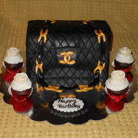 Chanel Purse Cake Chanel bag/purse with mini cupcakes topped with mini royal icing roses