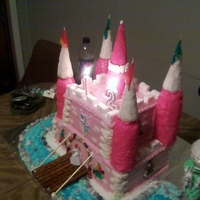 April's 12Th Birthday Cake Pink fantasy castle cake. A cake built for a princess!