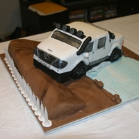 Hilux Choc Mud 'hill' and White Choc Mud in the car, creek is fondant...