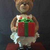 """bearing Gifts"" 3D Stand Up Xmas Teddy Bear - front View"