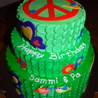 Peace Theme Cake I had a little girl show me a picture of a cake a friend of mine did with peace a peace sign on top and lots of birds, hearts, flowers, and...