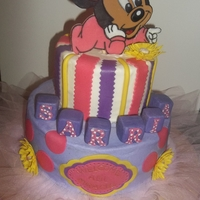Baby Minnie Shower Cake!! Made for a baby shower... 2D cake topper, all BC with fondant accents!!