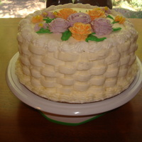 Final Cake For 2Nd Wilton Class..flowers & Cake Design Orange cake w/ orange curd filling and orange buttercream. First time EVER doing basketweave.