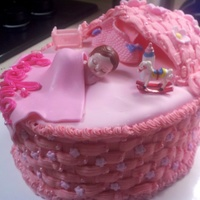 Pink, Bassinet Baby! Strawberry cake. I made 3 layers of cake then shaped the stacked layers into an oval with a long sharp knife. In between each layer I put a...