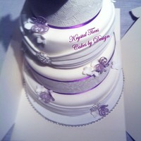 Purple Rose Sugarveil Lace Purple rose and sugar veil lace wedding cake