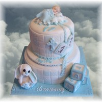 Christening Cakes baby boy blue christening cake with rabbit and building blocks