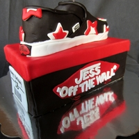 Vans Shoe Box And Shoe Cake A 13th birthday cake carved out of Chocolate cake with White ChocolateGanache into the shape of a shoebox and a Vans shoe.