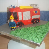 Fireman Sam 1st 3d cake, Fireman Sam & his fire engine Jupiter