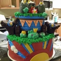 Angry Birds Cake Cake I did for my sons 7th birthday.