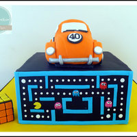"80's Cake For Ben's 40Th - Orange Vw - 6"" Caramel Mudcake With Caramel Ganache, 8"" Square Caramel Mudcake With Caramel..."