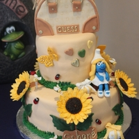 Daughters Birthday Cake 3 things my daughter loves ... Sunflowers, Smurfette and Guess handbags had to be on the cake. New to this so please excuse all the...