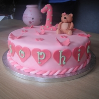 Girls 1St Birthday Cake With Teddy Bear And Butterflies Pink Fondant 1st Birthday Cake with Model of Teddy Bear and Number 1 with Butterflies